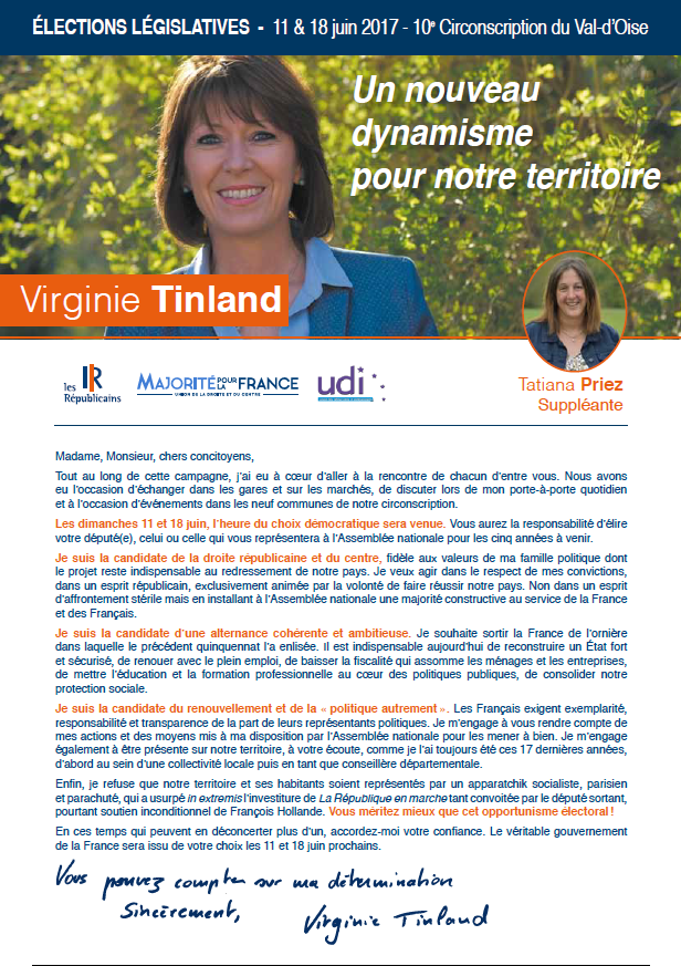 Profession de foi de Virginie Tinland (1er tour)