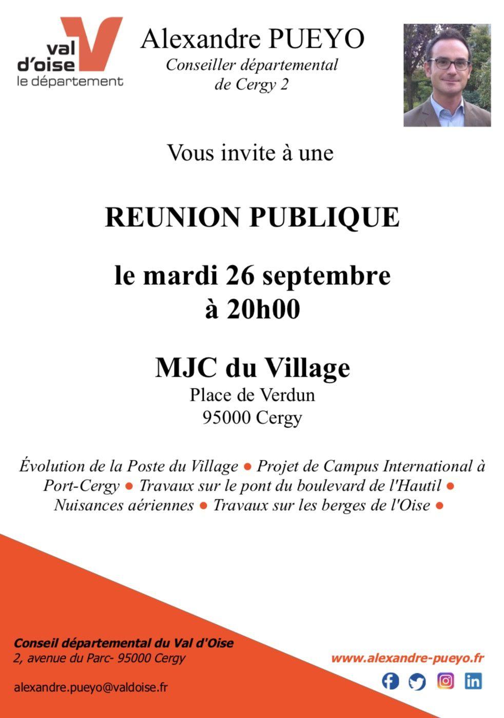 Invitation : Réunion publique le mardi 26 septembre