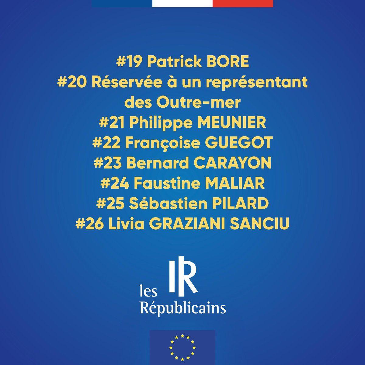 Les 26 premiers noms de la liste LR aux européennes