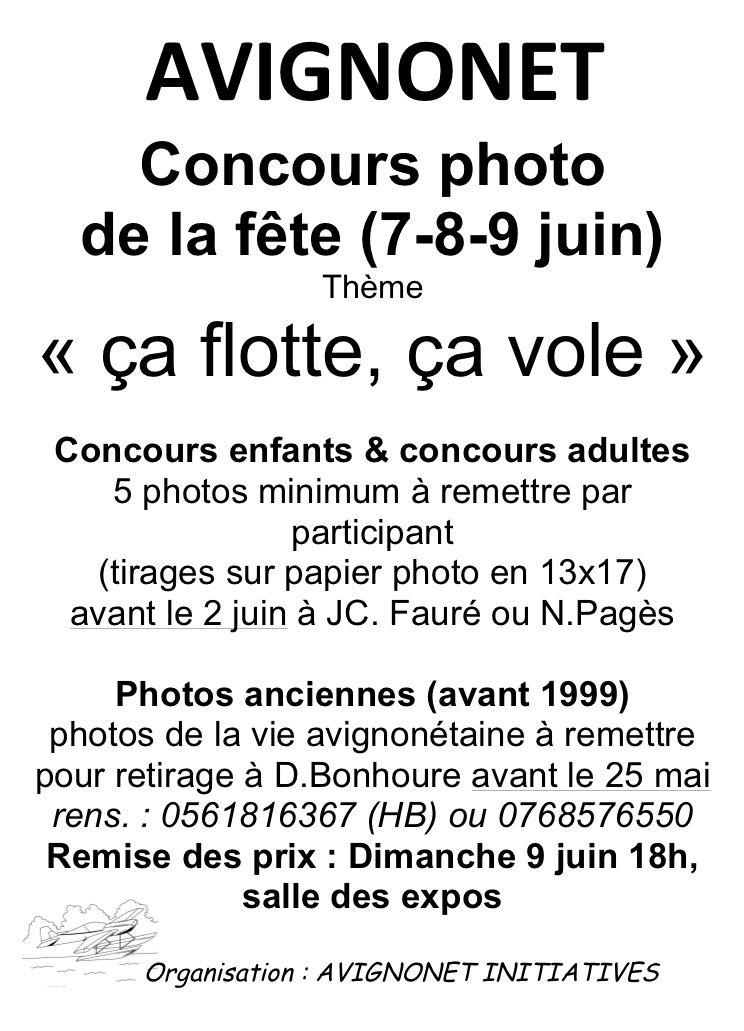 """Concours photo d'Avignonet """"ça flotte ou ça vole"""""""