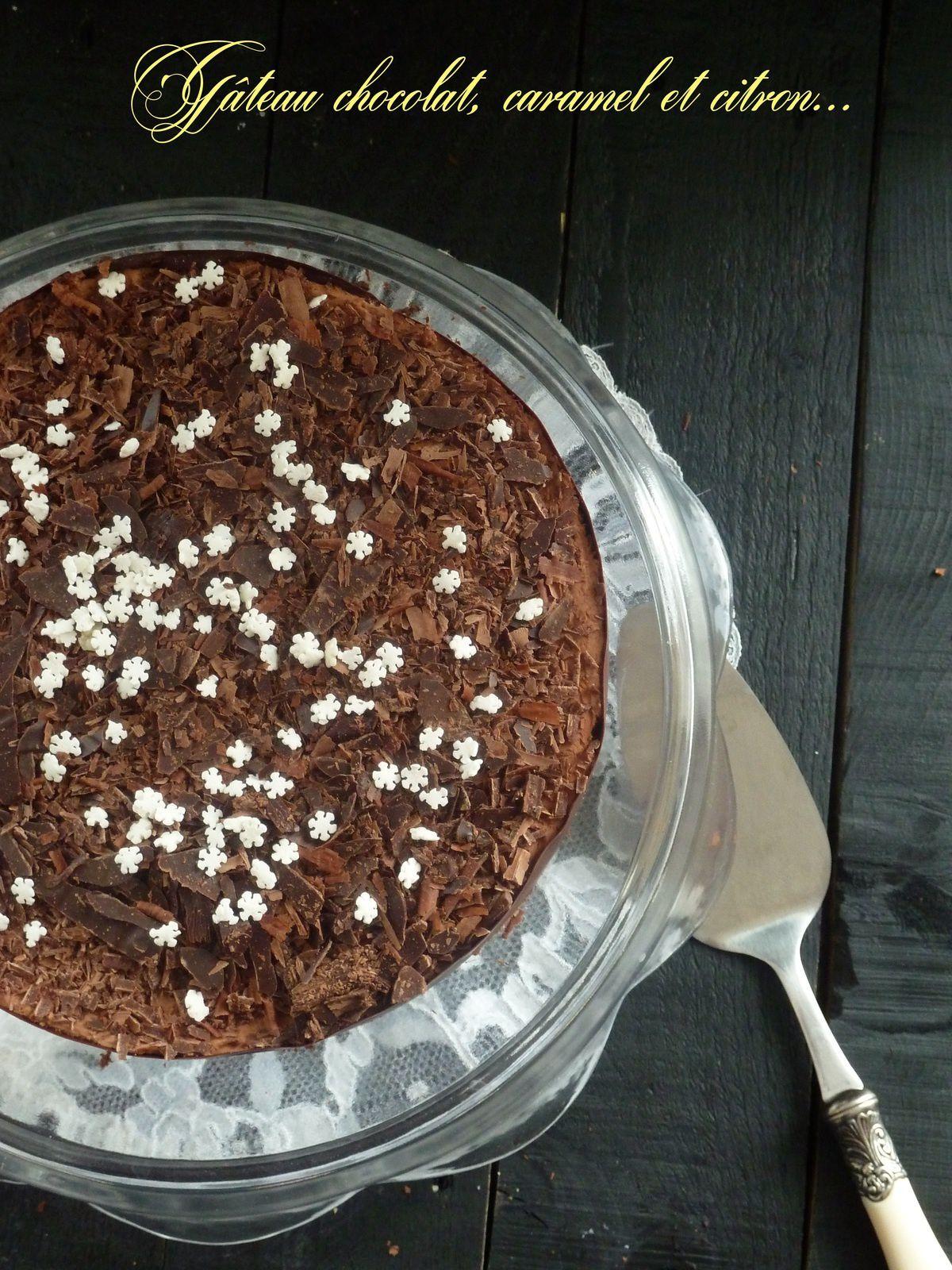 Gâteau mousse au chocolat-caramel et crème de citron