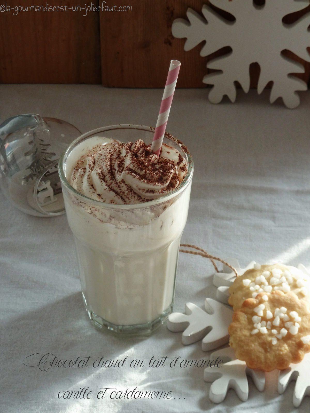 Chocolat chaud au lait d'amande, vanille et cardamome
