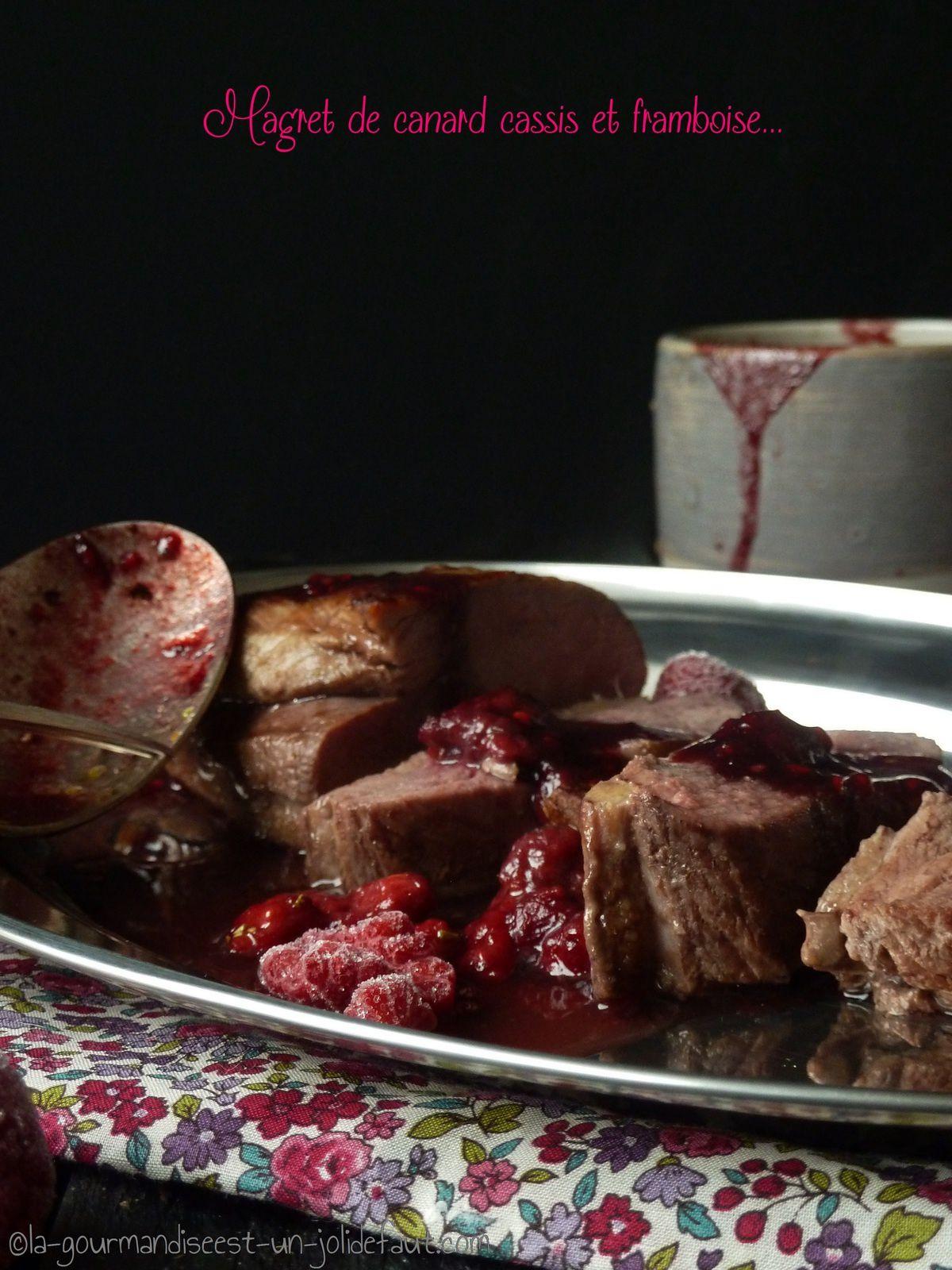 Magret de canard sauce cassis-framboise