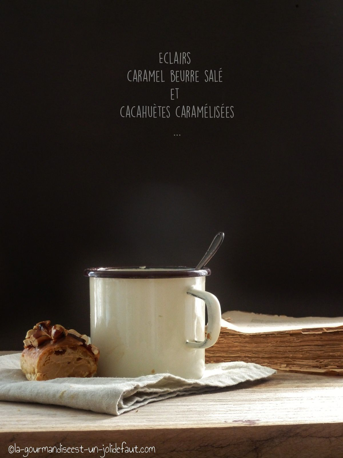 Eclairs au caramel et cacahuètes caramélisées