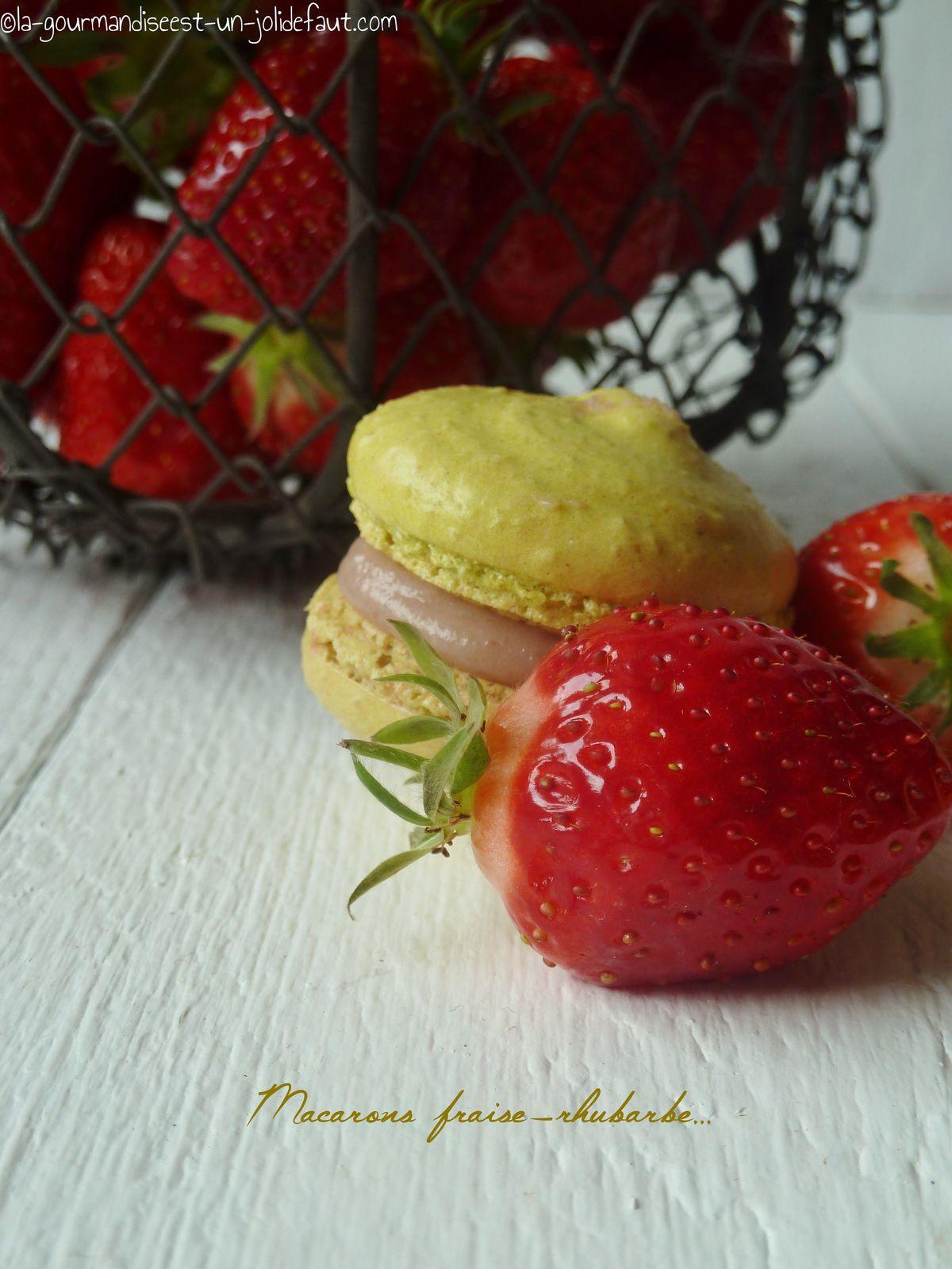 Macarons fraise-rhubarbe