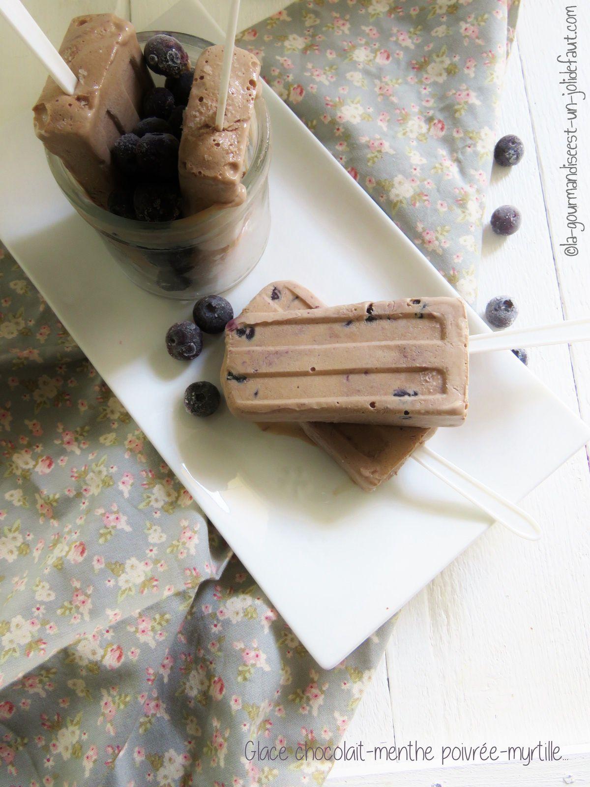 Glace choco-myrtille-menthe poivrée { en bâtonnets}