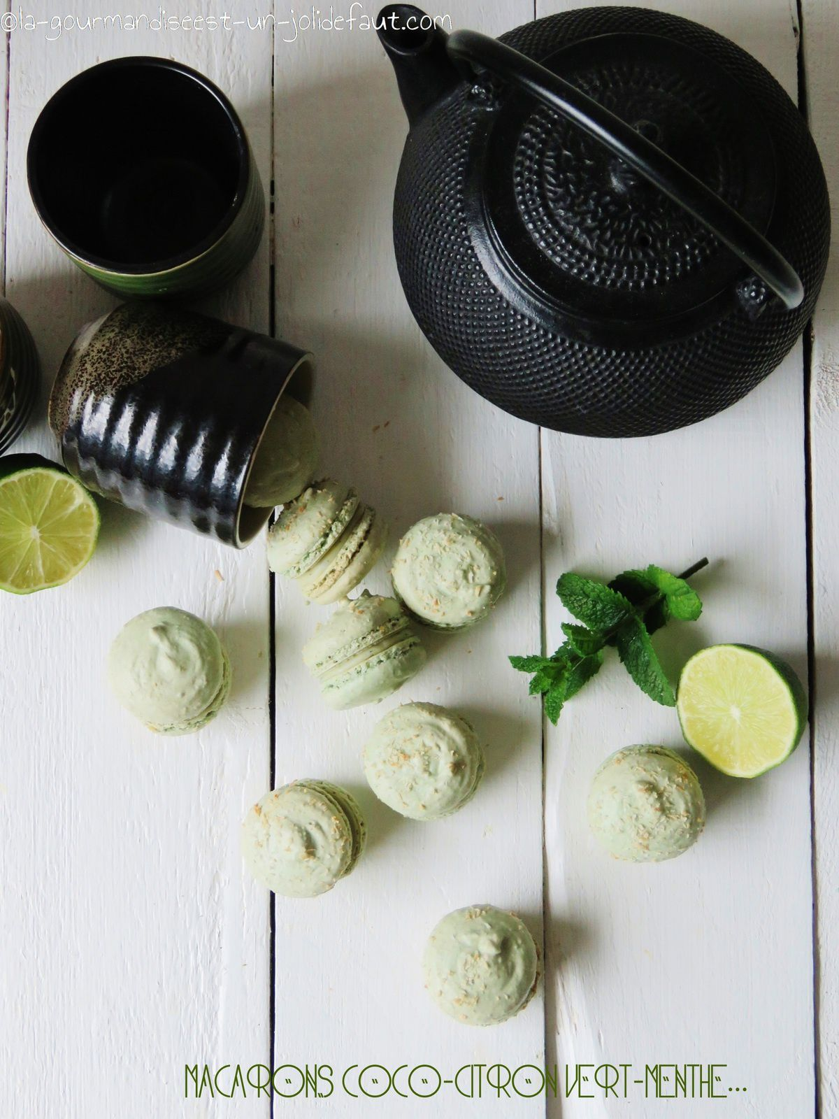 Macarons coco-citron vert-menthe