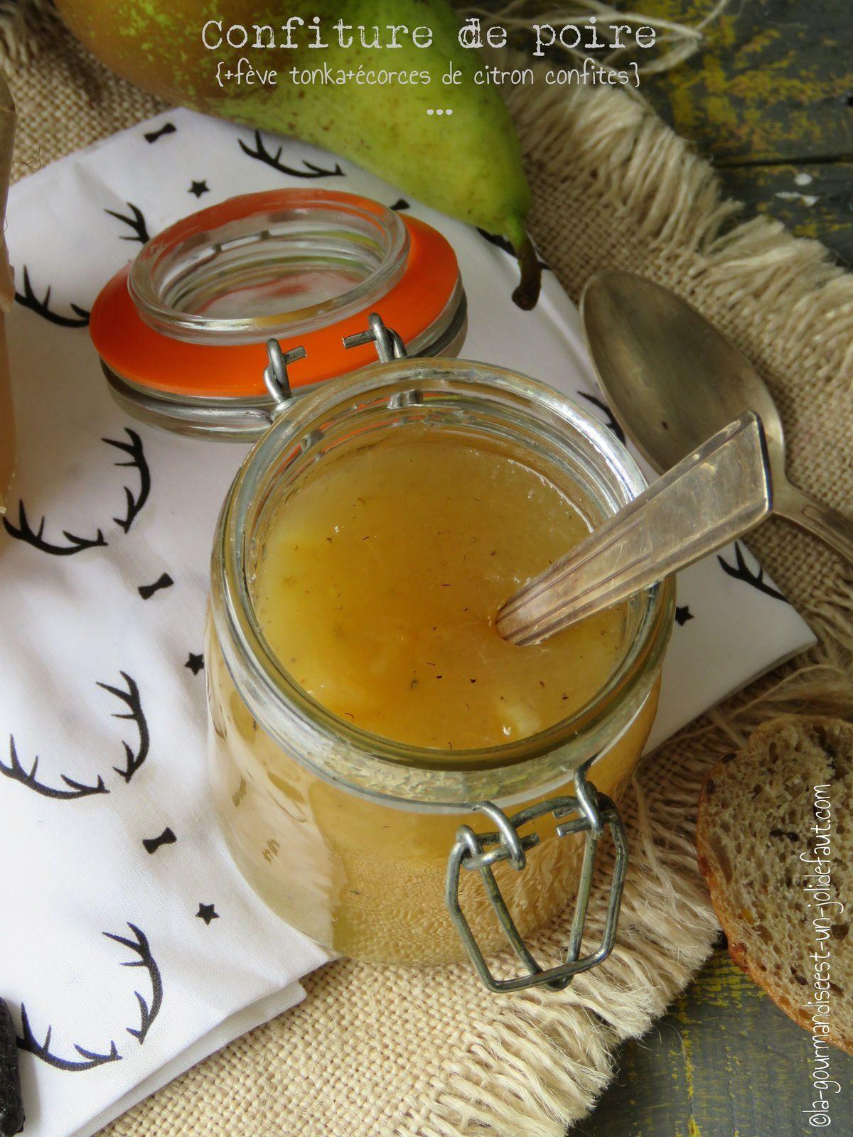 Confiture de poire à la fève tonka et citron confit