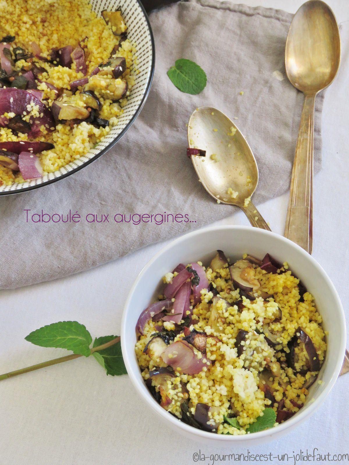 Taboulé aux aubergines, menthe et coriandre
