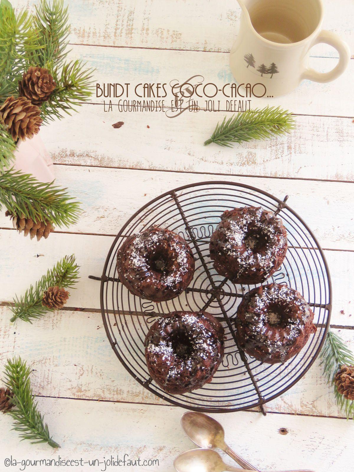 Mini bundt cakes coco-cacao {farine d'épeautre}