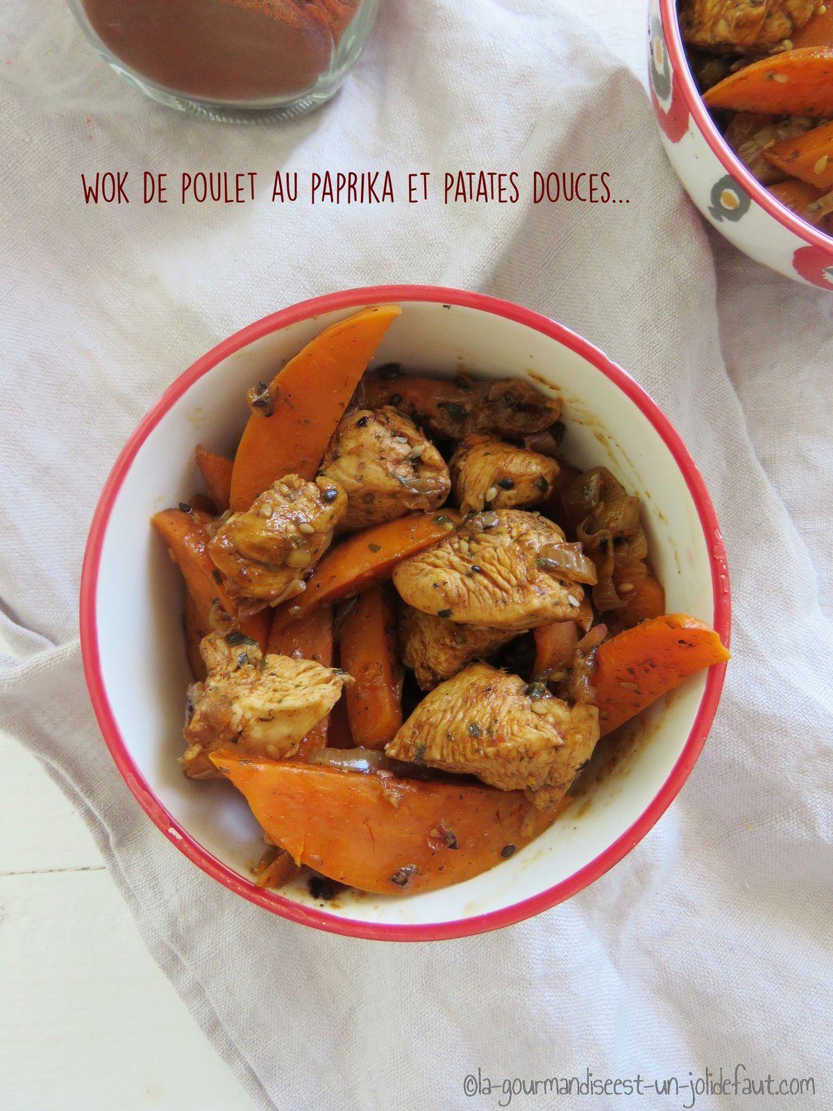 Wok de poulet au paprika et aux patates douces