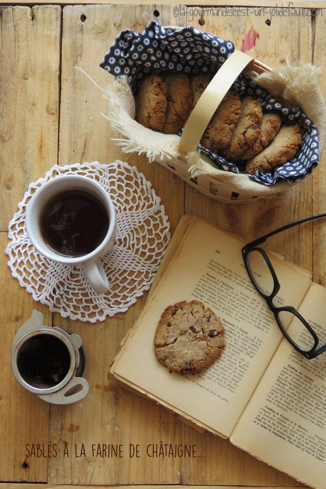 Sablés à la farine de châtaigne, pralin et chocolat