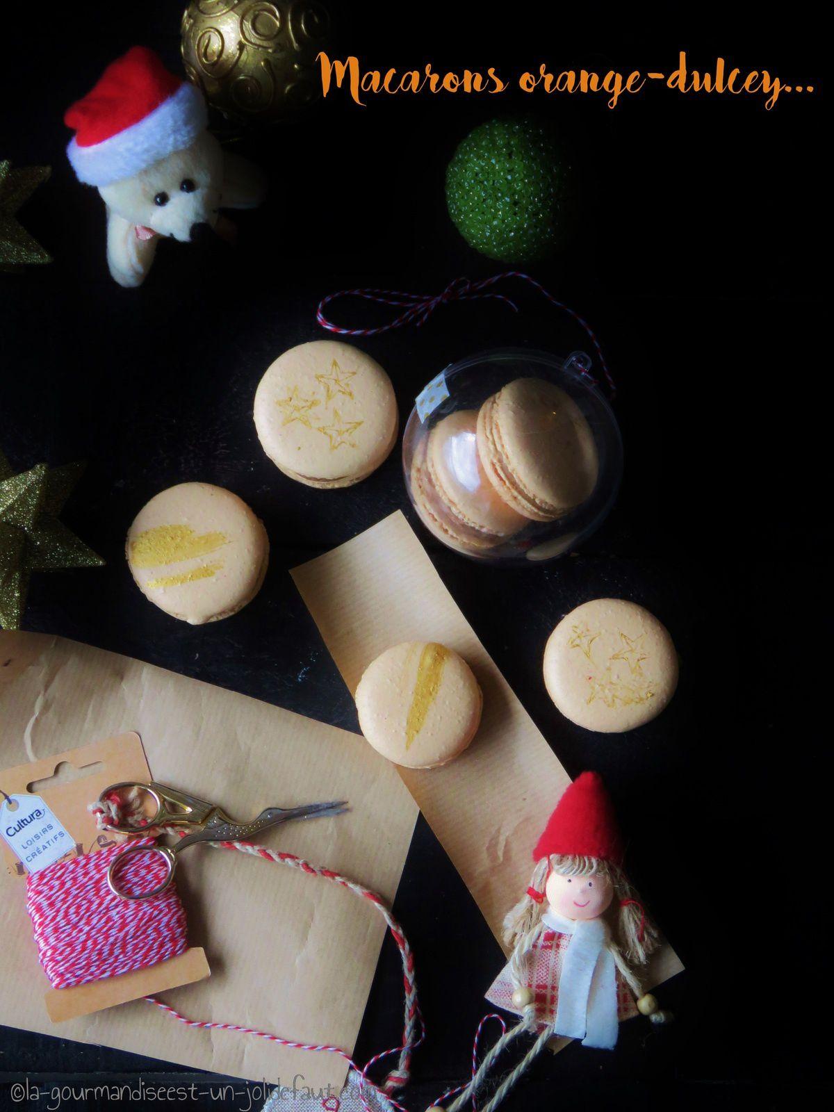 Macarons orange-dulcey au pain d'épice