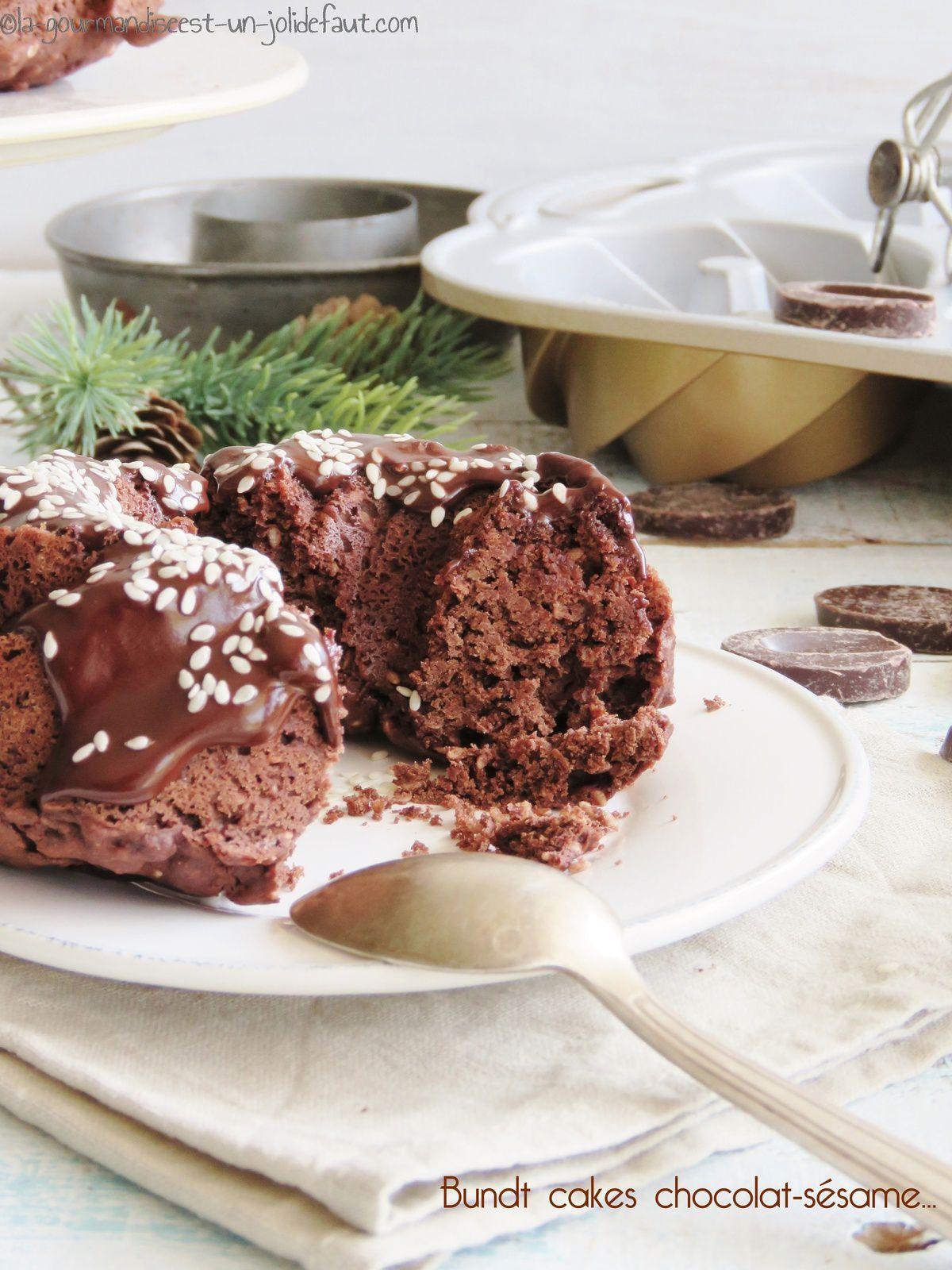 Bundt cakes chocolat-sésame