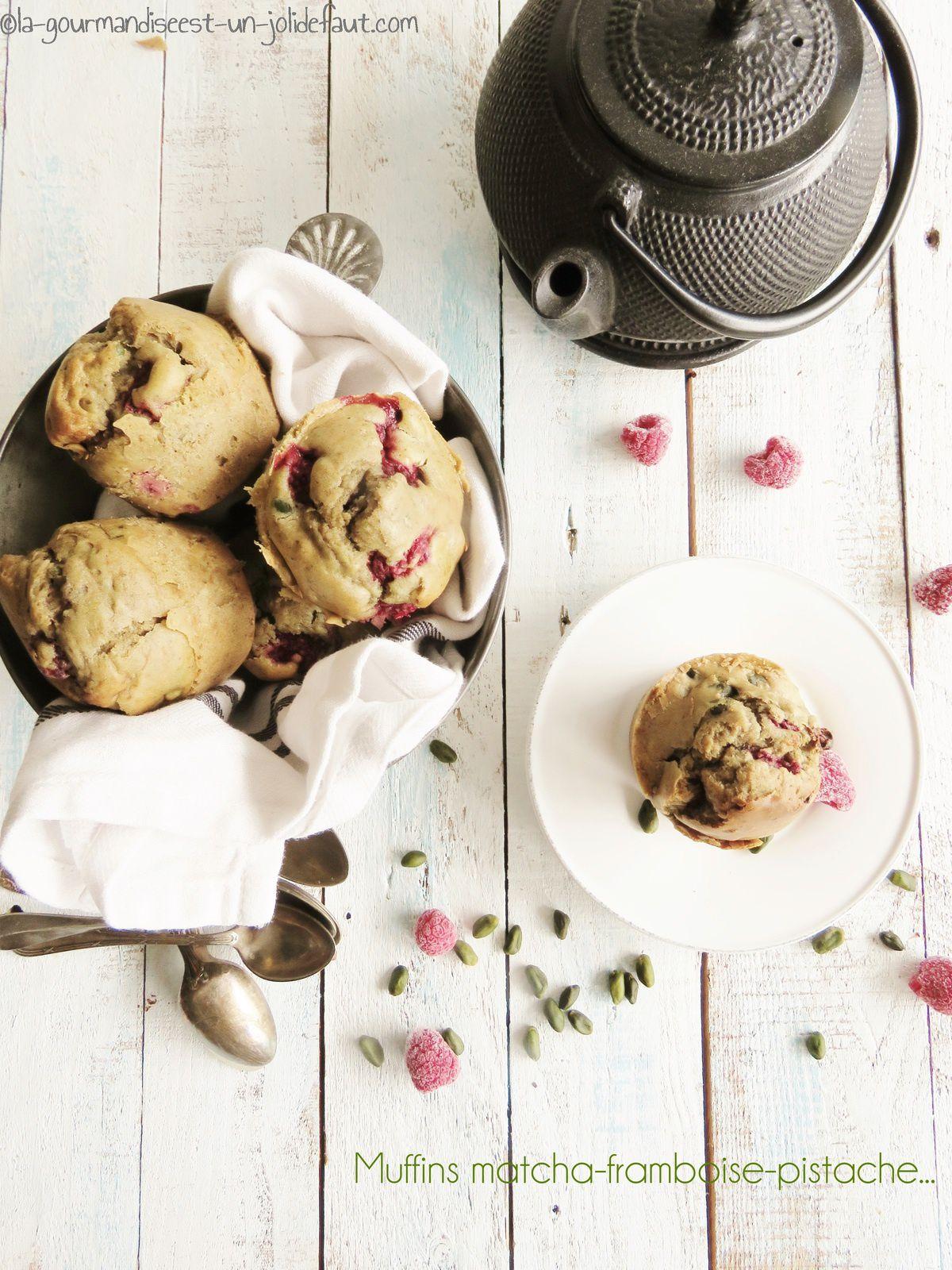 Muffins matcha framboise et pistache