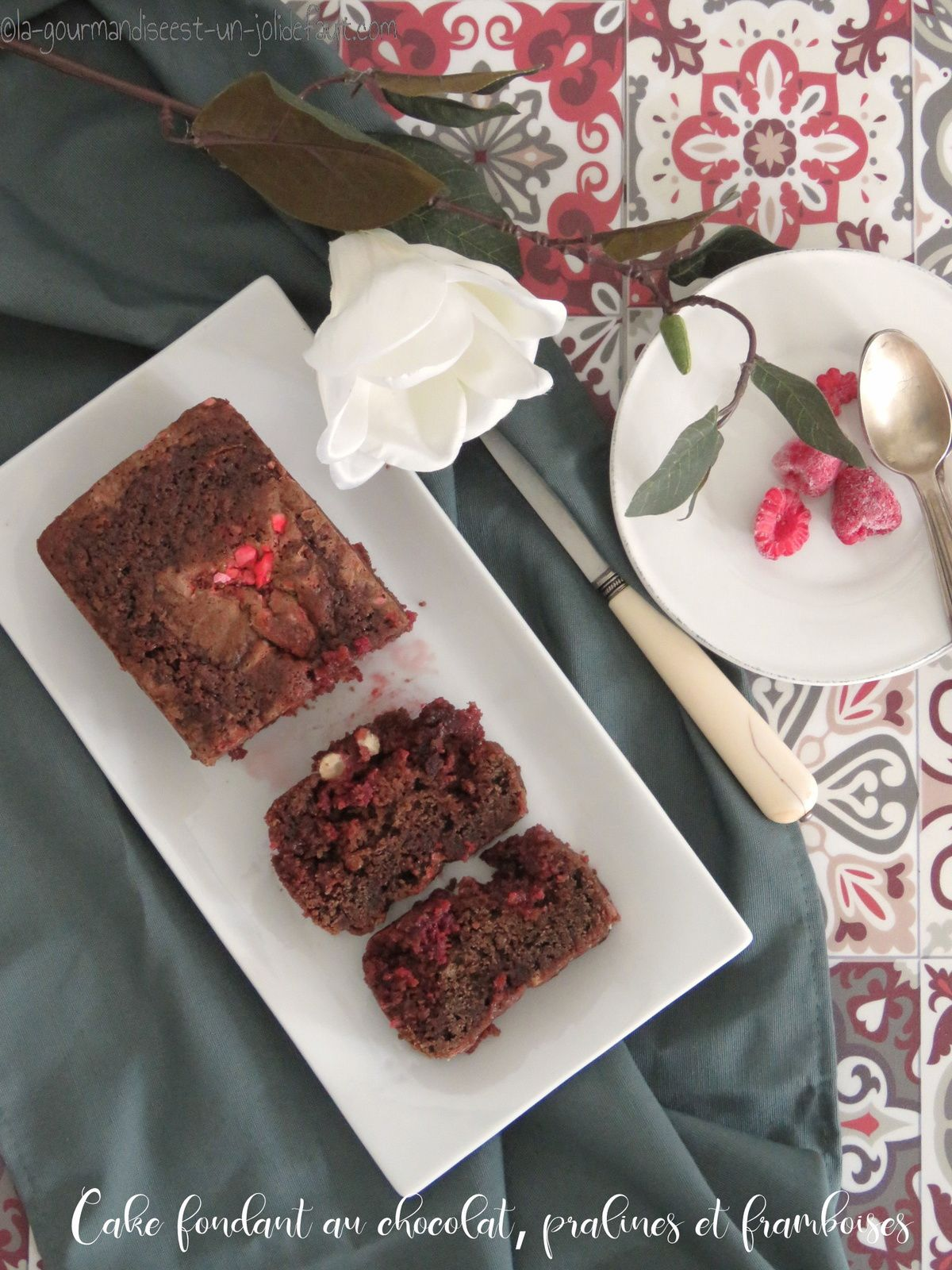 Cake fondant au chocolat, framboises et pralines