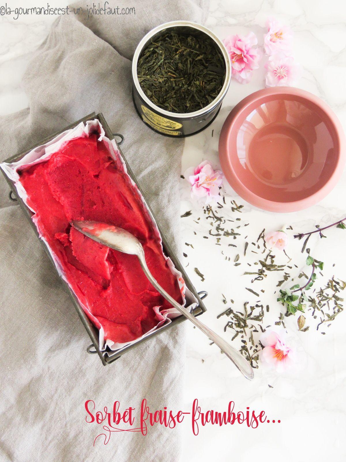 Sorbet fraise et framboise aux fleurs de cerisier et menthe poivrée