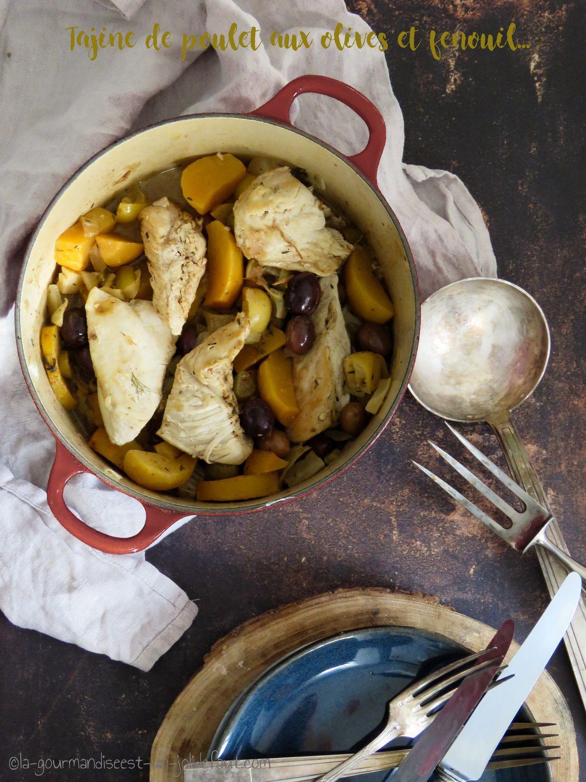 Tajine de poulet au fenouil et aux olives