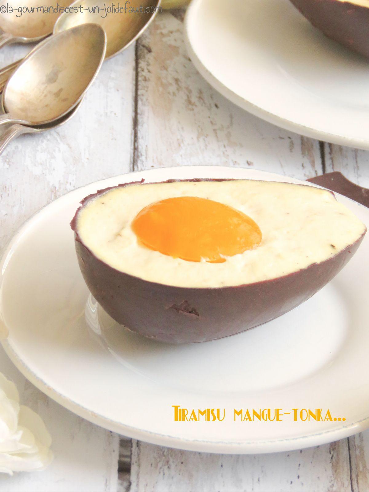 Tiramisu mangue-tonka en coque de chocolat