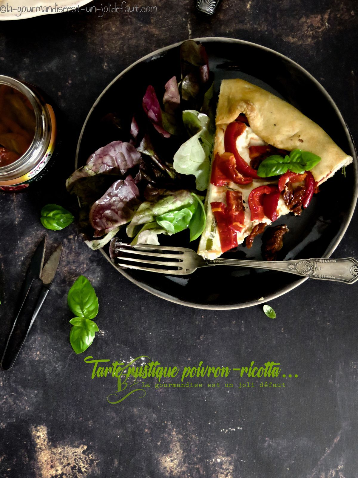 Tarte rustique aux poivron et tomates séchées