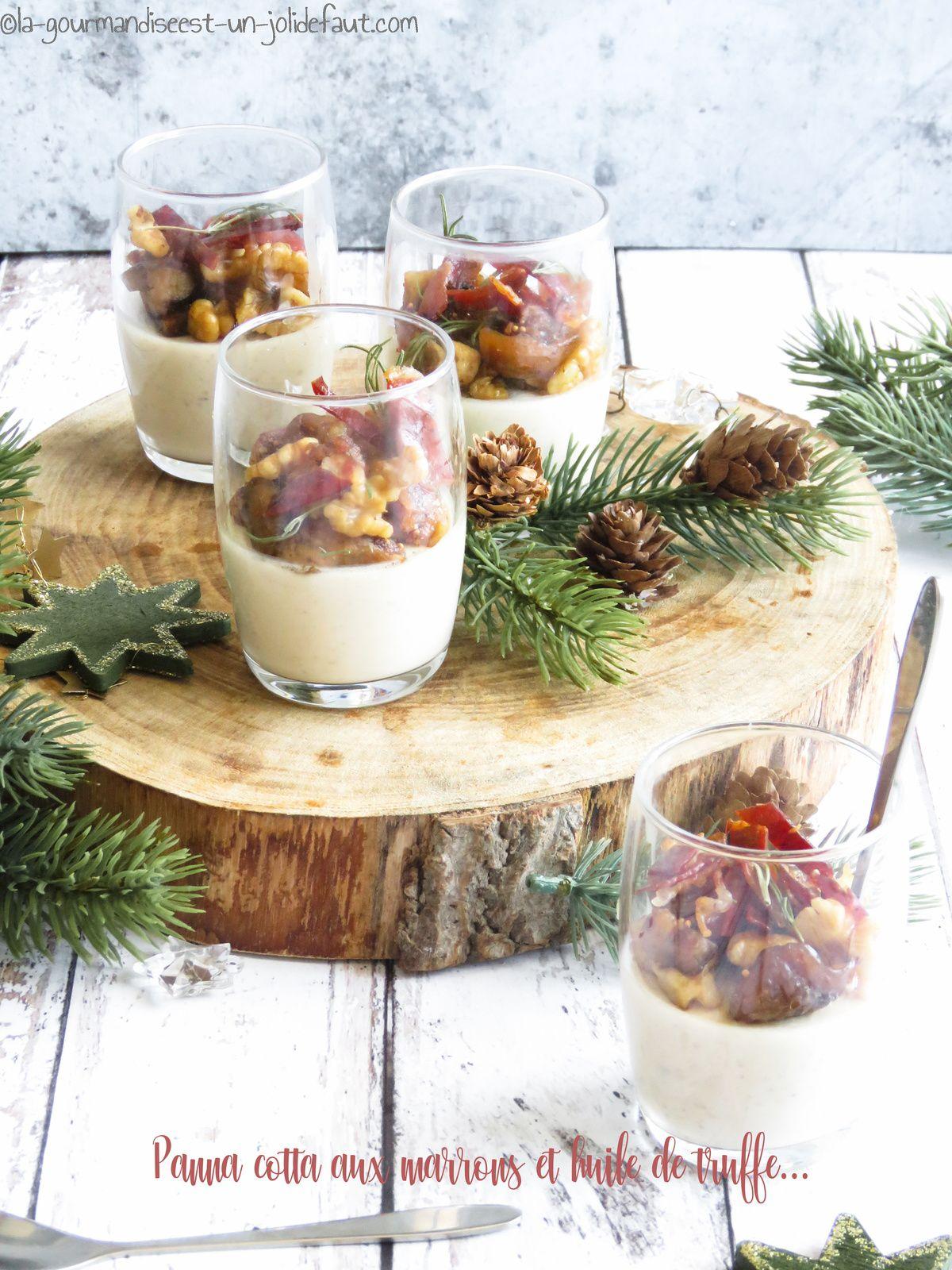 Panna cotta aux marrons à l'huile de truffe