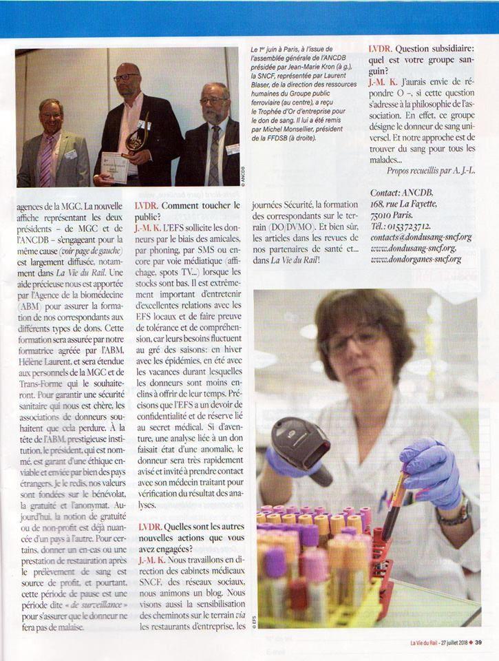 Un article de présentation de l'ANCDB dans LA VIE DU RAIL, association de cheminots pour le don bénévole, dont je fais partie: