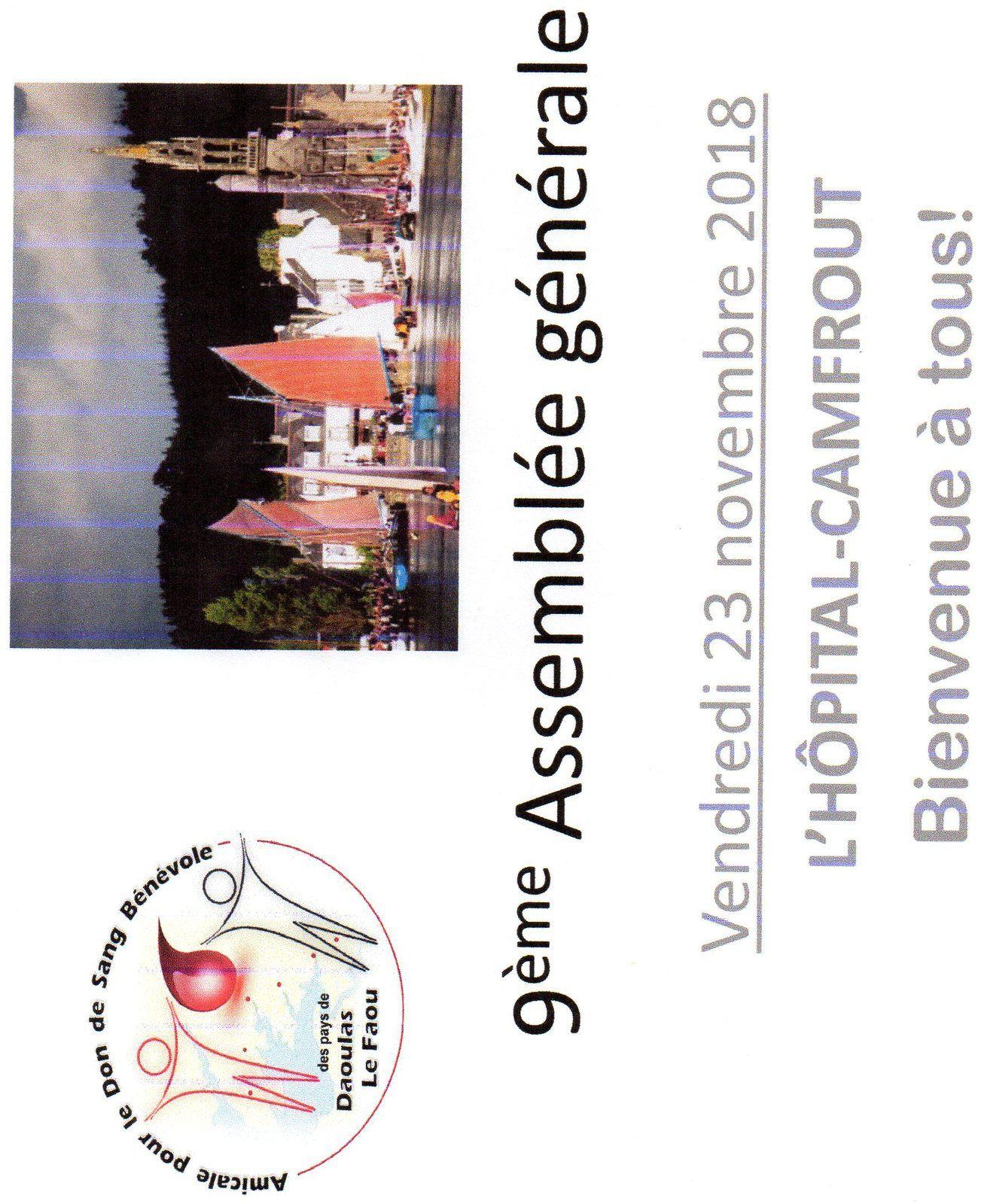 L'Assemblée Générale de notre association c'est demain à L'HÔPITAL-CAMFROUT!