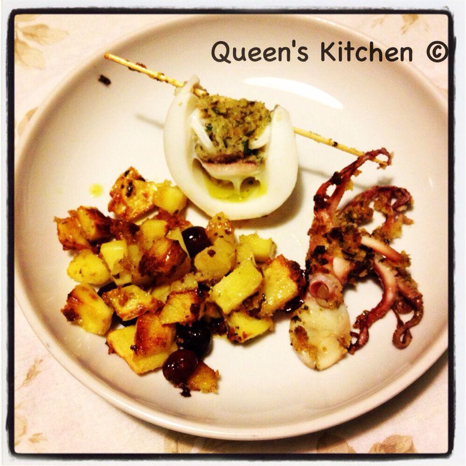 seppia ripiena al forno con patate e olive di Gaeta