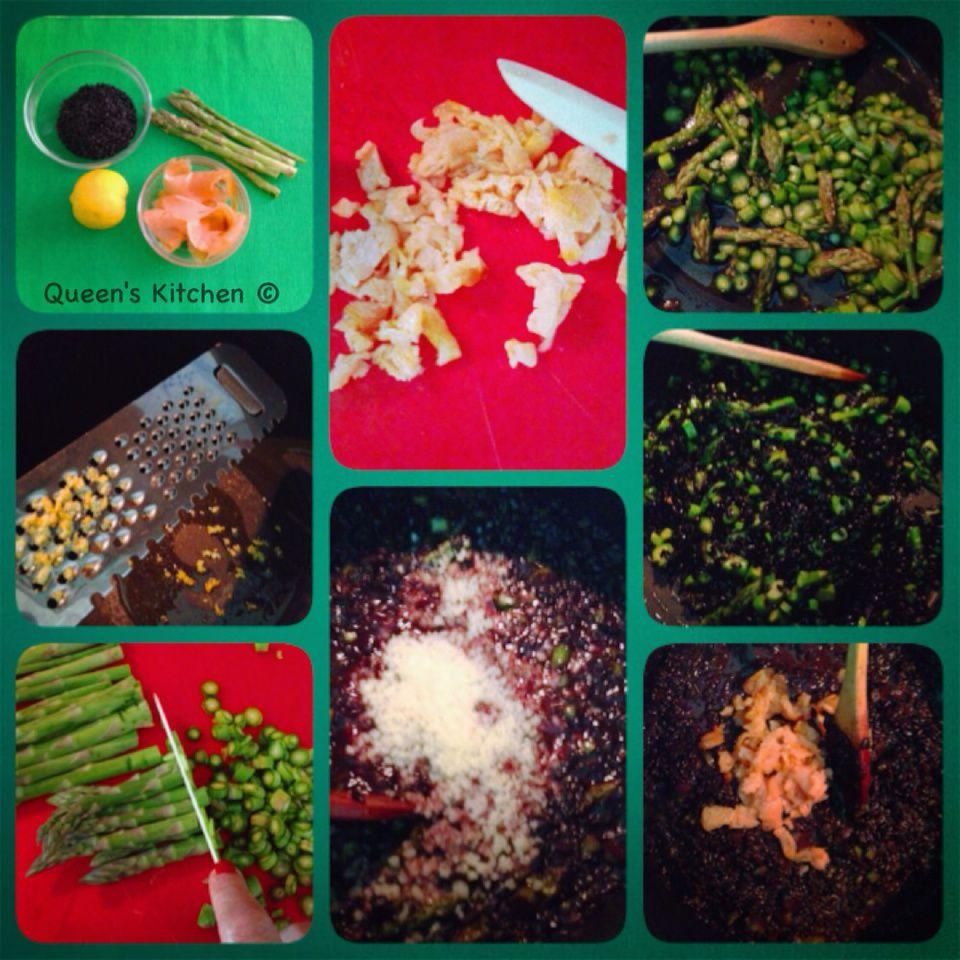 risotto nero con salmone asparagi e limone