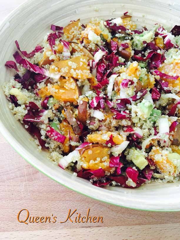 quinoa con avocado radicchio e zucca al forno