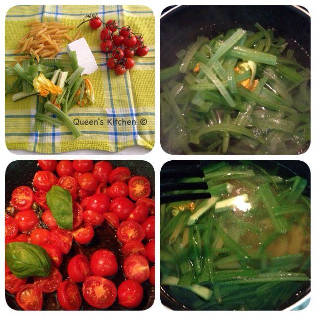 penne con cime di zucchine, pomodorini e ricotta salata