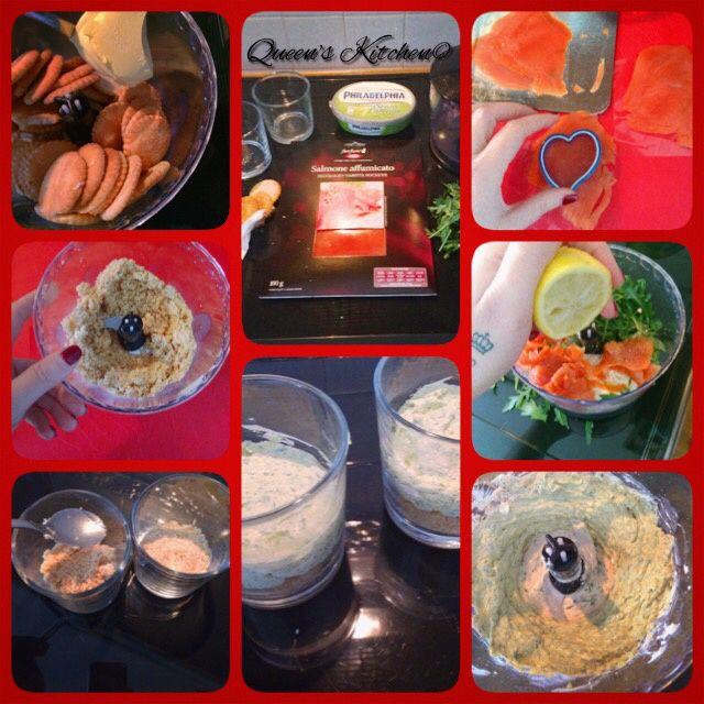 mini-cheesecake salate con salmone e rucola