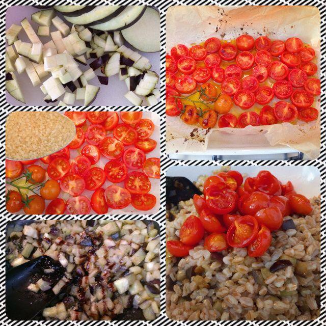 farro con melanzane, ricotta salata e pomodorini confit