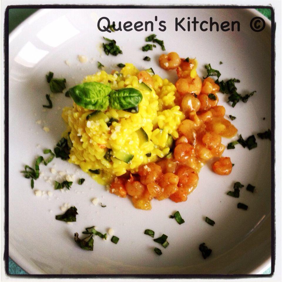 risotto con patate, zucchine e gamberi al curry