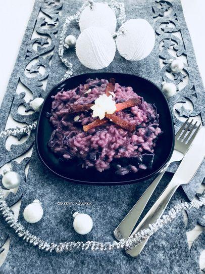 risotto con cavolo cappuccio e speck croccante