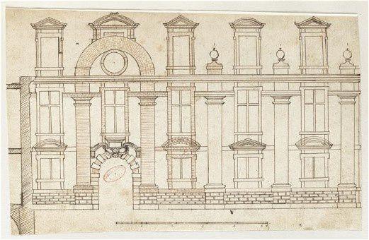 Henrichemont pavillon dessin de Salomon de Brosse  biblio de l'institut