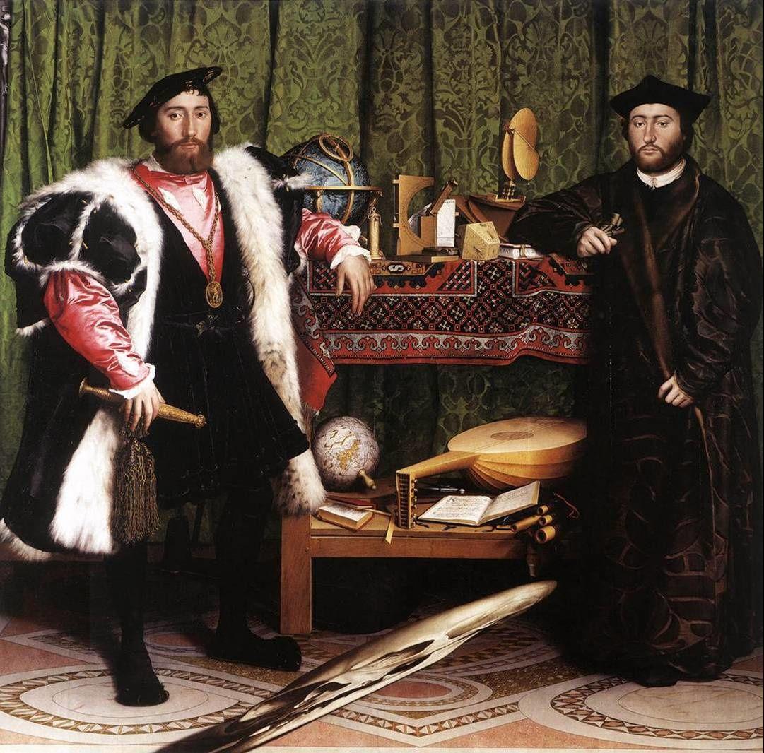 Les Ambassadeurs (Hans Holbein, 1533). NB. remarquez la Mort symbolique, en anamorphose...