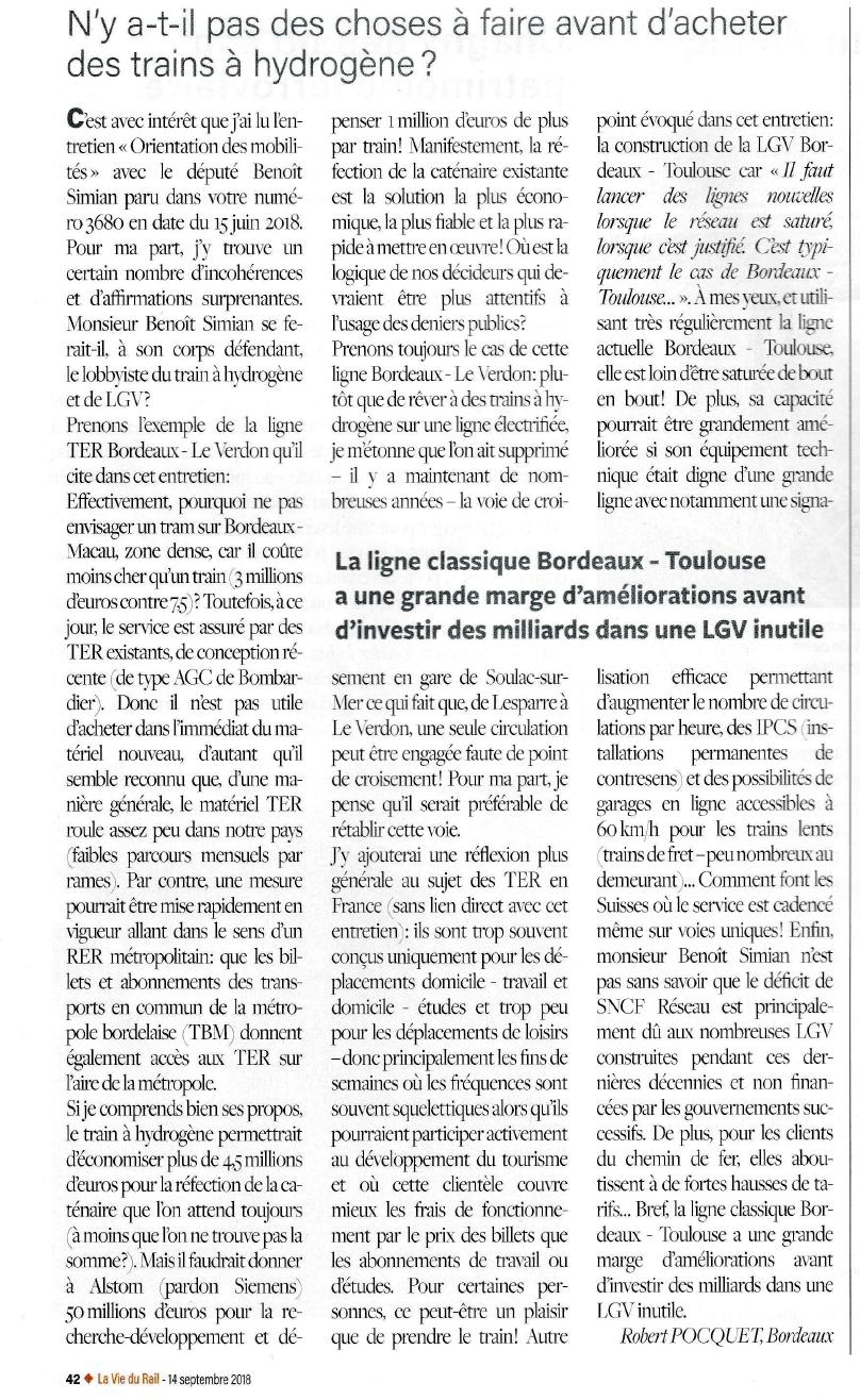 """Rubrique """"Dialogue"""" de la Vie du Rail - 14 septembre 2018"""
