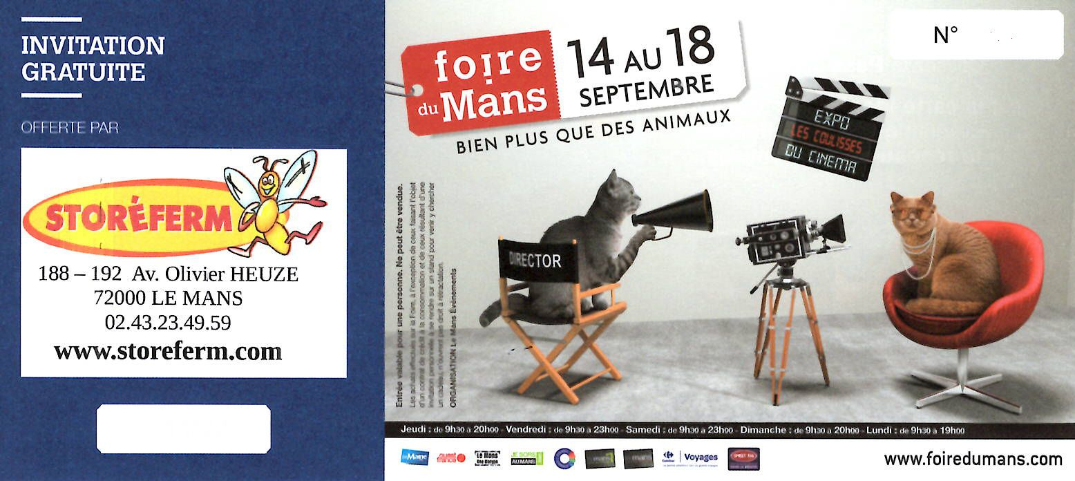 invitation billet gratuit pour la foire du mans with storeferm. Black Bedroom Furniture Sets. Home Design Ideas