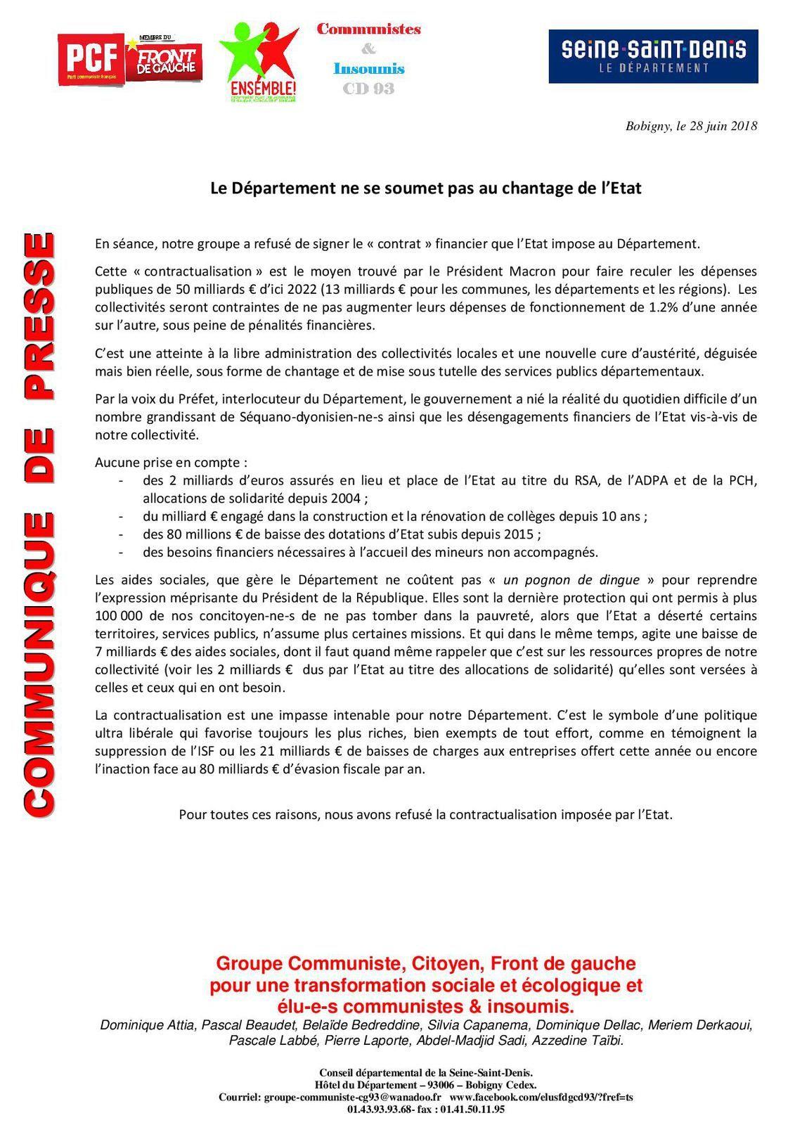 Le Département refuse la contractualisation.