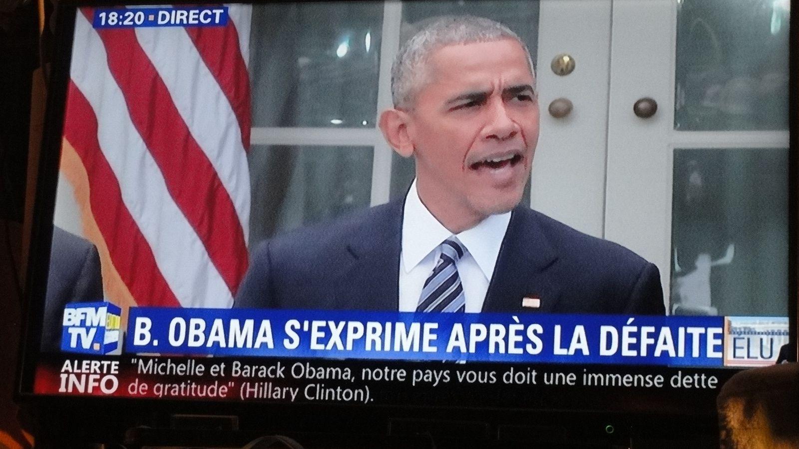 Monsieur Barack OBAMA s'exprime à on tour à 18 h 15 devant le perron de la Maison Blanche