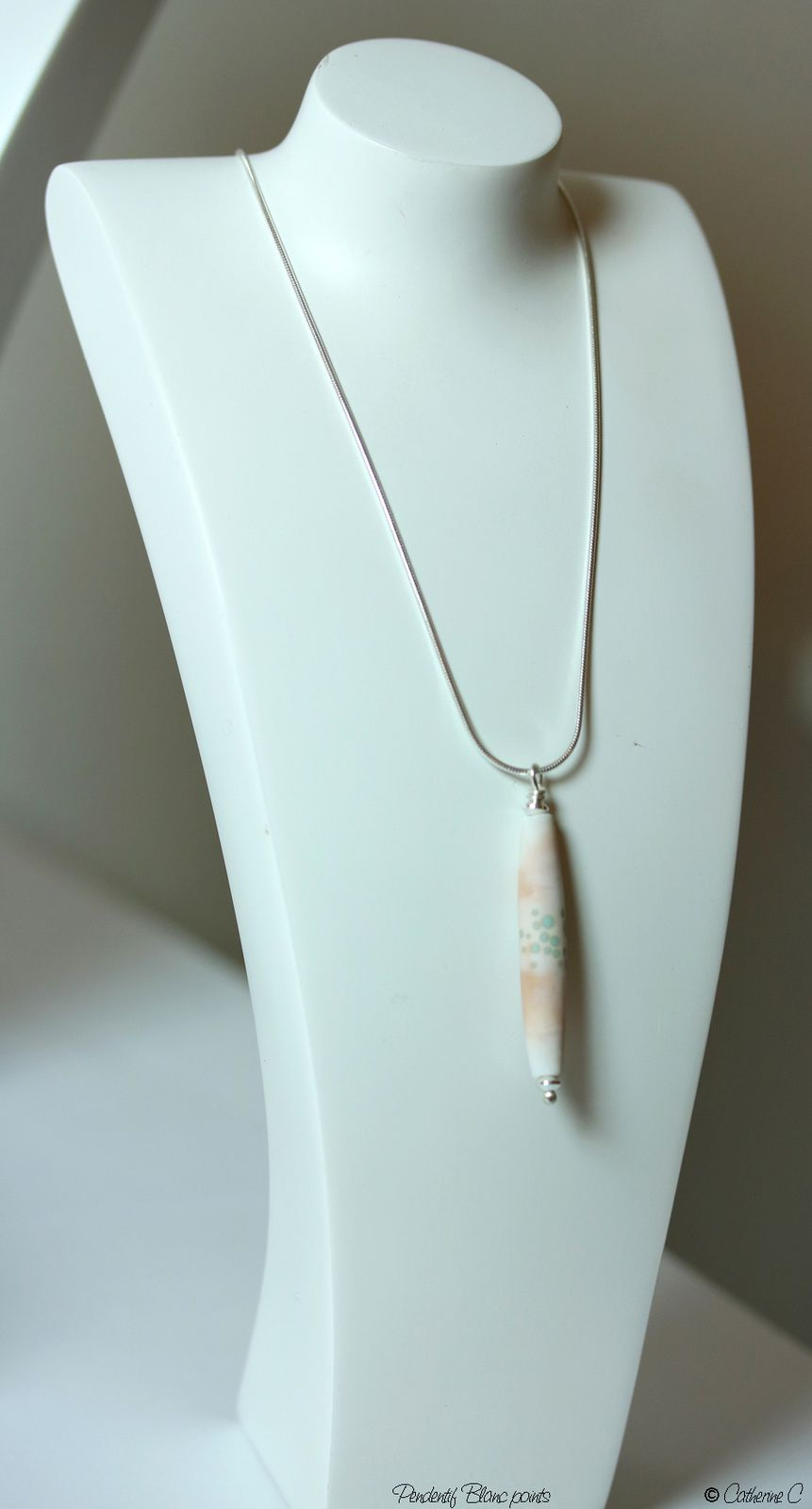 Pendentif Blanc points cylindrique