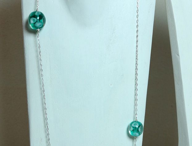 Collier sautoir Arums turquoise