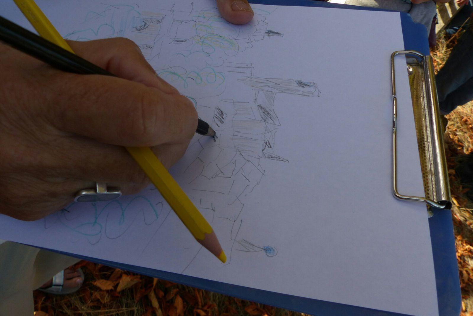 exercice inattendu proposé par le Guide : croquer le paysage en quelques minutes