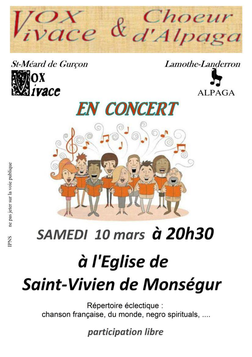 Concert vocal à Saint-Vivien-de-Monségur le samedi 10 mars à 20h30