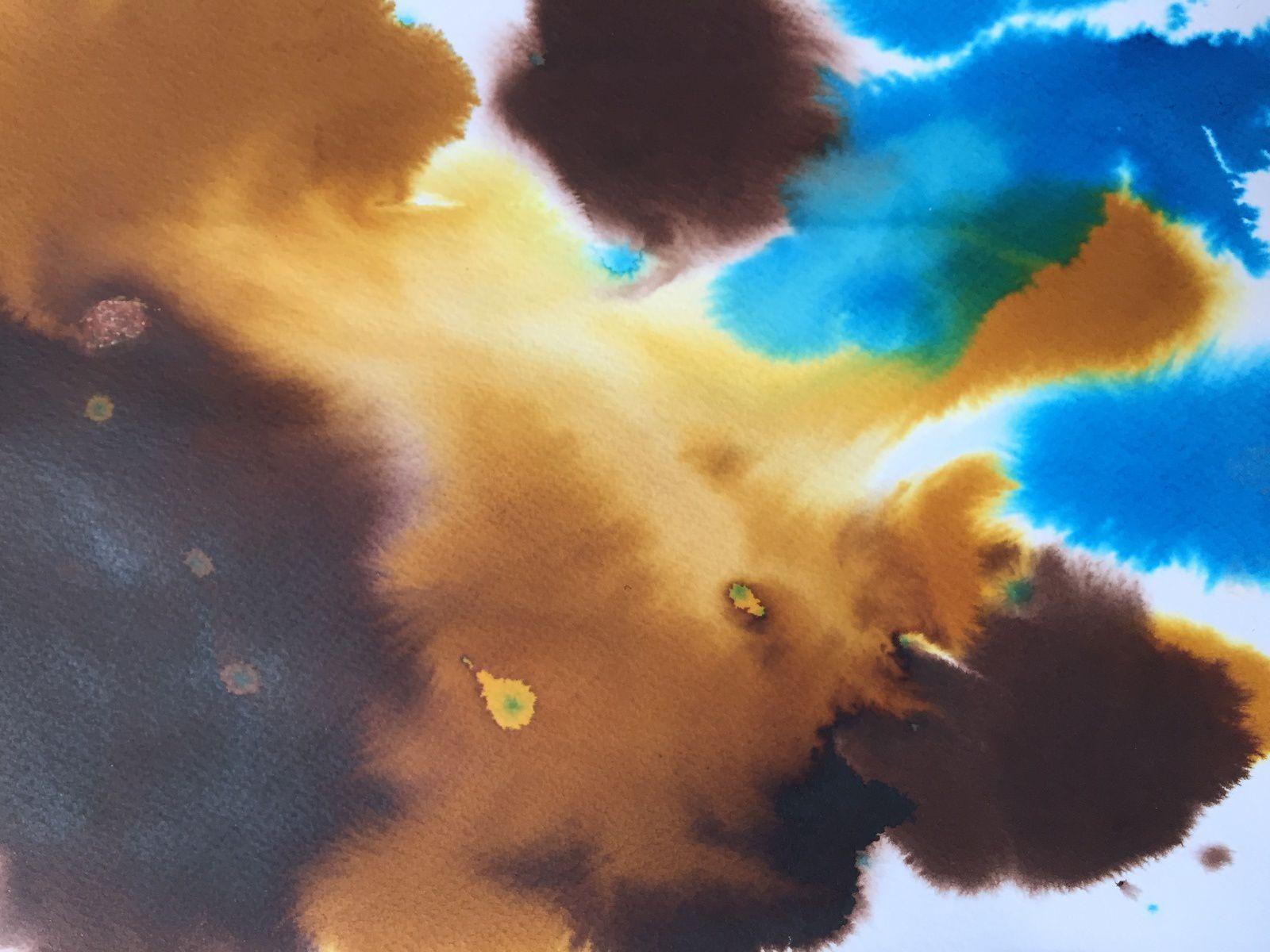Recherche vers l'abstraction, à partir de tâches d'encre, de dessins les yeux fermés, des couleurs...
