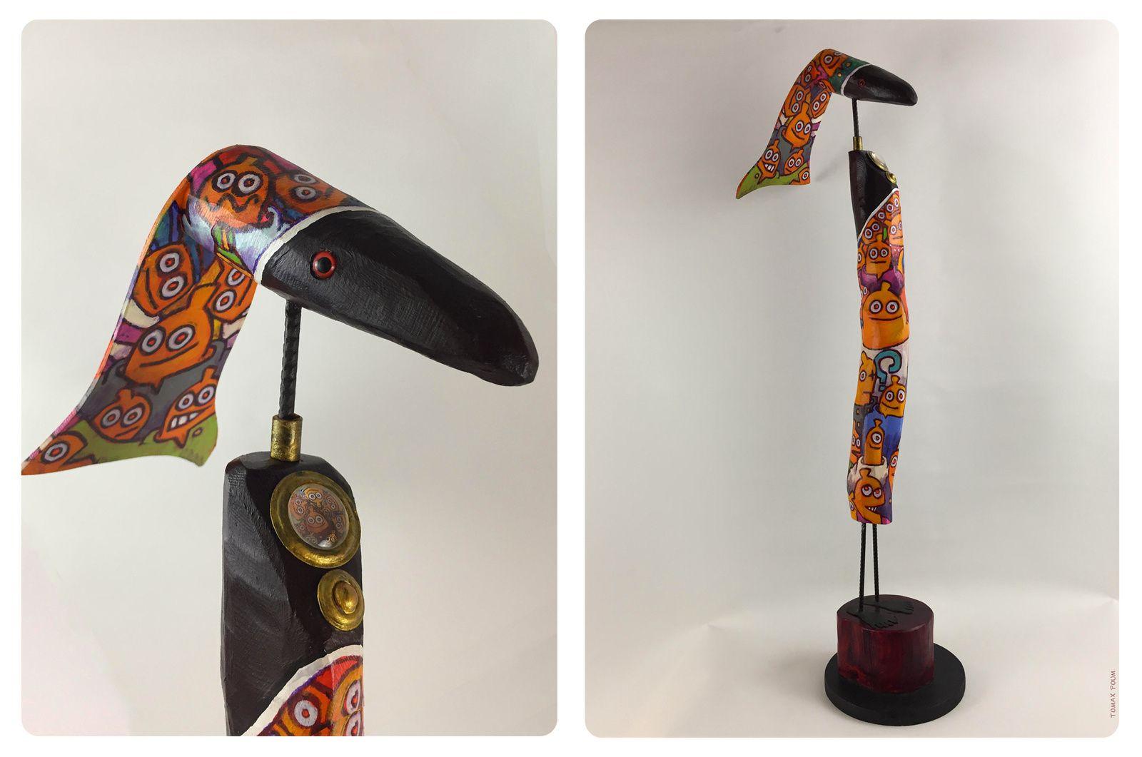 CREATURE PAPILLES Tocco / TomaxpouM(50X23) sculpture bois