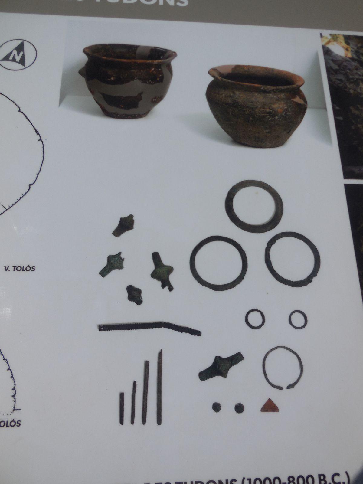 Résultats des fouilles effectuées en 1959. (bracelets en bronze, boutons en os...)
