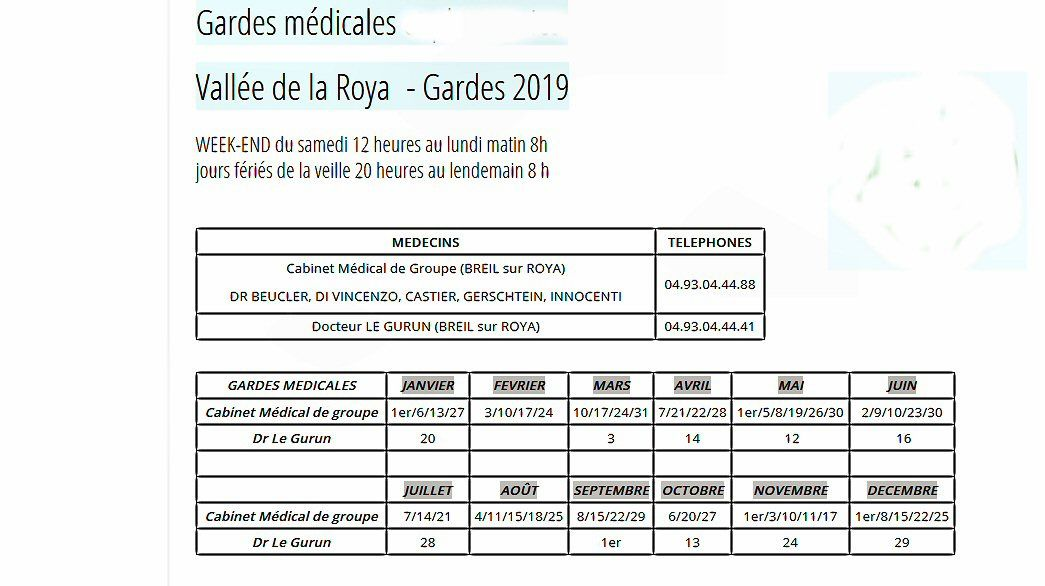 Médecins de garde pour 2019