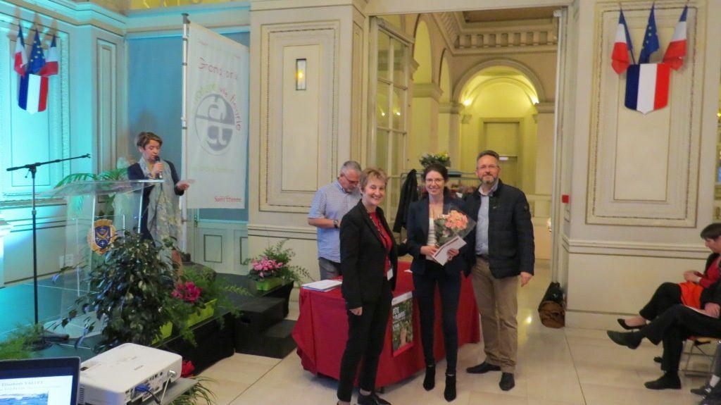 Elisabeth Vallet, Marie Dominique Faure conseillère municipale à la ville de Saint-Etienne et Paul Corrieras Adjoint au Maire